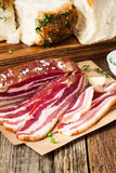 Dry cured pork belly and   garlic buns pampushka Royalty Free Stock Images