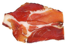Dry Cured Pork Neck Slice Isolated On White Background. Delicious, aromatic, gourmet, Dry Cured Pork Neck slice, isolated on White background Royalty Free Stock Photos