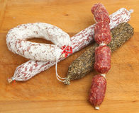 Dry Cured Salami Sausages Stock Image