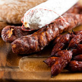Dry cured sausages Stock Image