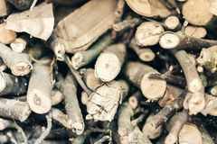 Dry cut logs firewood, wood. For home heating royalty free stock photography