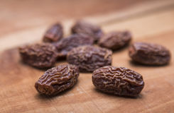 Dry dates. Few dry dates are being displayed in creative manner Royalty Free Stock Photography