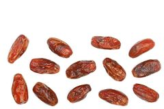Dry dates isolated on white background with copy space for your text. Top view. Flat lay pattern.  Stock Photos