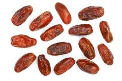 Dry dates  on white background. Top view. Flat lay pattern.  Stock Photography