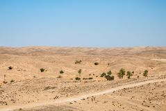 A dry desert landscape on a sunny day Stock Photography