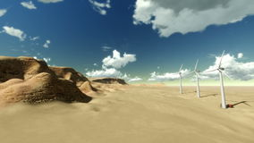 Dry desert with timelapse clouds and windmills. Dry desert with time lapse clouds and windmills stock footage