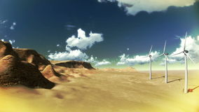Dry desert with timelapse clouds and windmills wide angle. Dry desert with time lapse clouds and windmills wide angle stock video footage