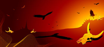 Dry desert, vulture and cow skull. Vector illustration Stock Images