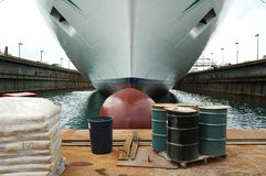 Dry dock. Passenger ship on a dry dock in Bahamas royalty free stock photography