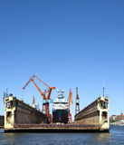 Dry Dock. Ship in dry dock in the harbour in Gothenburg Sweden Royalty Free Stock Photo