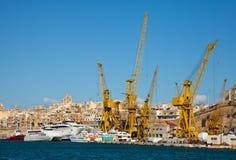 Dry dock. Ships in dry dock at Grand harbour (Valletta, Malta Stock Photos