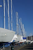 Dry Dock. A number of sailboats dry docked for the Winter along the Jersey shore Stock Photo