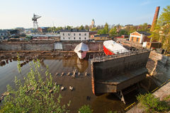 Dry dock. Ship docking without water standing on ships Stock Photography