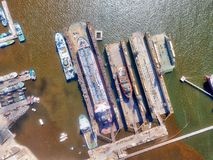 Dry Dock Aerial taken in January 2018 stock images