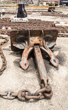Dry Dock - boat chains and anchor Stock Photos