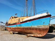 Dry dock. Hobby sailing sea blue water old ship Royalty Free Stock Photos