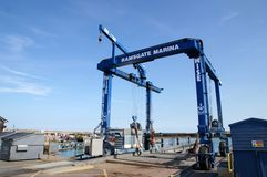 Dry Dock Lifter. A boat lifter at Ramsgate harbor to get boats out of the water to be serviced. Picture is ideal for marine and shipping use Stock Image