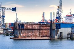 Dry dock in the port of Rotterdam, Netherlands Royalty Free Stock Photography