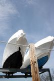 Dry Dock. Two boats being repaired and stored at a dry dock Stock Photography