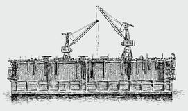 Dry dock. Vector image of an old industrial dry dock Stock Photos