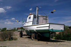 Dry Docked Fishing Boat Stock Photo