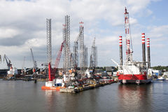 Dry Docked Oil Platforms Stock Photo
