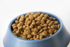 Dry dog or cat treats in bowl isolated on white Stock Photos
