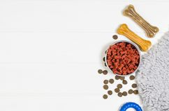 Dry dog food and accessories on white background top view royalty free stock photo