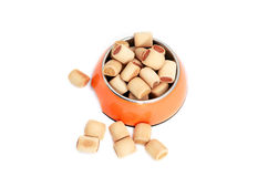 Dry dog food in bowl Royalty Free Stock Image