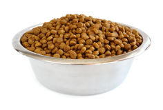 Dry Dog Food in a Stainless Steel Bowl Royalty Free Stock Photo
