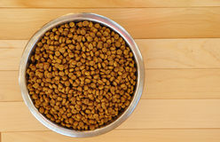 Dry Dog Food in a Stainless Steel Bowl Stock Image