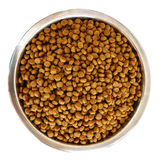 Dry Dog Food in a Stainless Steel Bowl Stock Photo