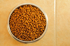 Dry Dog Food in a Stainless Steel Bowl Stock Images