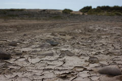 Dry. A dried out puddle in Cornwall Stock Photo