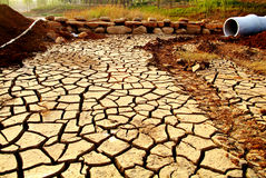 Dry earth Dry river and bridge Stock Photo