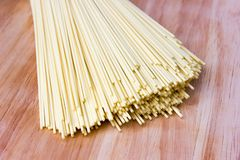 Dry egg noodles. Chinese egg noodles close-up Stock Photo