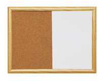 Dry Erase Cork Board. Empty Framed Dry Erase Wood Cork Board Isolated on a White Background Royalty Free Stock Image