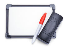 Dry Eraser With Board Marker. White Board with Eraser and Marker Isolated on White Background Royalty Free Stock Images