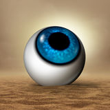 Dry Eye. Disease medical concept as a human eyeball in an arid desert as an opthalmology or optometry symbol for vision organ symptoms of dryness and hudration Royalty Free Stock Photo