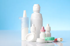 Dry eyes eye drops and contact lenses case Stock Image