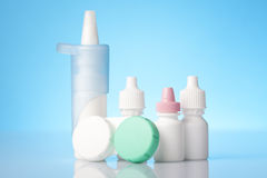 Dry eyes eye drops and contact lenses case Stock Photo