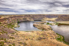 Dry Falls Park With Cliffs and Lake Stock Photo