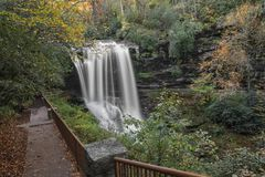 Dry Falls Waterfall. Dry Falls is a scenic 65 foot waterfall close to Highlands North Carolina. As you can see from the photo you can walk behind the waterfall stock photos