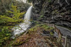 Dry Falls Waterfall. Dry Falls is a scenic 65 foot waterfall close to Highlands North Carolina. As you can see from the photo you can walk behind the waterfall stock images