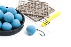 Dry feed for carp fishing. Carp boilies and accessories for carp Royalty Free Stock Photography