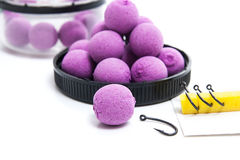 Dry feed for carp fishing. Carp boilies and accessories for carp Stock Photo