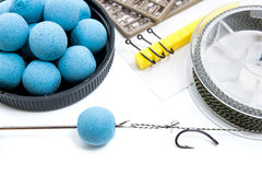Dry feed for carp fishing. Carp boilies and accessories for carp Royalty Free Stock Photo