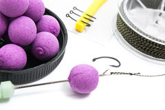 Dry feed for carp fishing. Carp boilies and accessories for carp Stock Photography