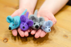 Dry felting mice in the master hands Stock Photography