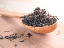 Dry fermented tea of fireweed Chamerion angustifolium also known as great willowherb or rosebay willowherb on wooden background. stock images